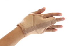Wrist and finger brace support isolated on white Royalty Free Stock Photo