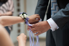 Wrist flower. At the wedding for the bride and groom to wear wrist flower close-up Stock Image