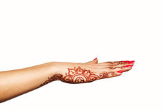 Wrist and hand of young girl with henna mehendi Stock Photography