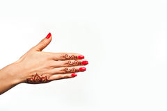 Wrist and hand of young girl with henna mehendi Stock Image