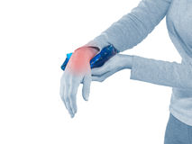 Wrist Injury. Woman wrist Injury. Woman cooling pain injury royalty free stock photo