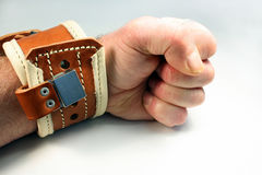 Wrist restraint. Is applied and locked to a wrist Stock Images