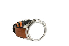 Wrist smart watch with leather strap, isolated on white Stock Images