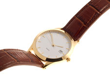 Wrist watch. Gold rimmed wrist watch with brown leather strap over a white background Stock Photo