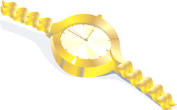 Wrist watch. Illustration of a gold plated ladies wrist watch Stock Image