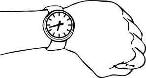 Wrist Watch Arm. Vector illustration of a wrist watch on an extended arm Royalty Free Stock Photos