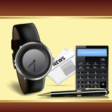 Wrist watch, calculator and pen Stock Images