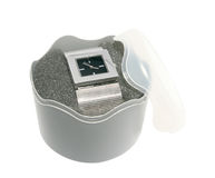 Wrist watch in gift box stock image