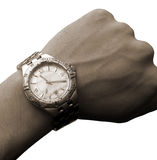 Wrist watch on hand isolated tone Stock Photos
