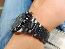 Wrist watch on the  hand Royalty Free Stock Photo