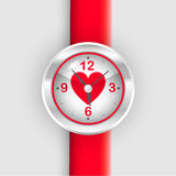 Wrist watch with heart Royalty Free Stock Images