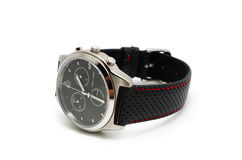 Wrist watch. Isolated, switzerland made with sporty perforated strap Royalty Free Stock Photography