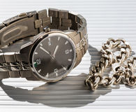 Wrist Watch. jewelry chain Royalty Free Stock Photography