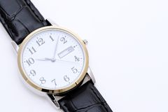 Wrist watch with leather strap Stock Image