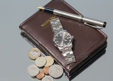 Wrist Watch. notebook. close Royalty Free Stock Photography