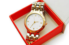 Wrist watch in red box Stock Photos