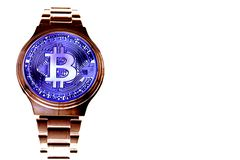 Wrist watch screen bitcoin. Crypto, Concept business, idea: time to earn, buy or sell bitcoin royalty free stock image