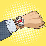 Wrist watch show now pop art style vector Royalty Free Stock Photo