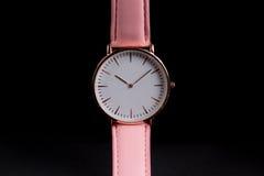 Wrist watch. Single wrist watch on a black background Royalty Free Stock Photo