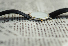 Wrist watch on a textile background Stock Photography