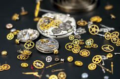 Wrist watches, clockworks, composition of parts of the clock mechanism.  stock photo