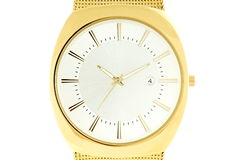Wrist watches in gold color Stock Photography