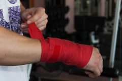 Wrist wraps in the gym Stock Photography