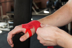 Wrist wraps in the gym Stock Photos