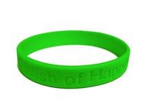 Wristband verde del silicone Fotografie Stock