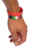 Wristbands de la caridad en el recorte de la muñeca Fotografía de archivo