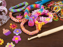 Wristbands and rings made of rubber bands Royalty Free Stock Image