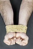 Wrists tied with rope. Male hands tied up with strong rope Stock Images