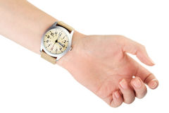 Wristwatch σε ετοιμότητα γυναικών Στοκ Φωτογραφία