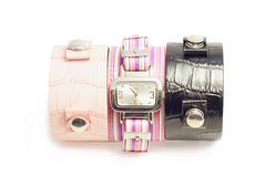 Wristwatch. With three different bracelets on your choice Royalty Free Stock Image