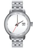Wristwatch. In the steel frame isolated on the white background Stock Images