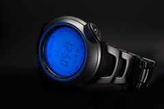 Wristwatch on a black background stock photo