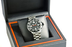 Wristwatch in the box. Stock Photos