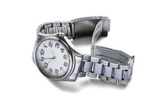 Wristwatch. Classic male wristwatch on metal bracelet isolated over white Stock Photo