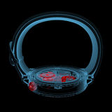 Wristwatch (3D xray red and blue transparent) Stock Photography