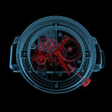 Wristwatch (3D xray red and blue transparent). Wristwatch (3D xray red and blue transparent isolated on black background vector illustration