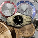 Wristwatch detail. Metal, golden, red and blue wristwatch composition Stock Image