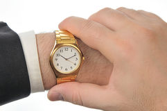 Wristwatch on hand Royalty Free Stock Photography
