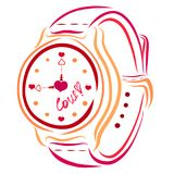 Wristwatch with hearts and signature LOVE.  Royalty Free Stock Photography