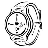 Wristwatch with hearts and word LOVE on the dial.  Royalty Free Stock Photo