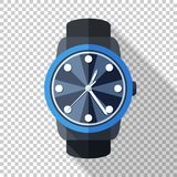 Wristwatch icon in flat style on transparent background. Wristwatch icon in flat style with long shadow on transparent background vector illustration