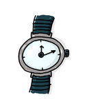 Wristwatch illustration. Wristwatch freehand illustration; Watch cartoon; Time concept Stock Photo