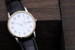 Wristwatch with leather strap Royalty Free Stock Photography