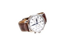 Wristwatch for man with brown leather bracelet isolated on white Royalty Free Stock Photography