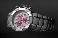 Wristwatch. Mens watch close-up on a dark background Royalty Free Stock Photography