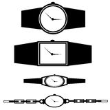 Wristwatch Set. Set of black and white ladies and men wristwatches Vector Illustration